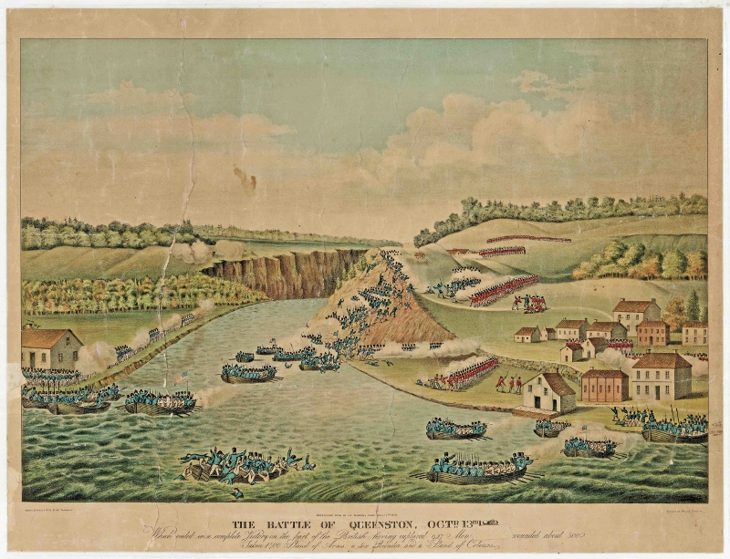Colour print of engraving depicting a battle with British forces in red and American soldiers in blue separated by a river.