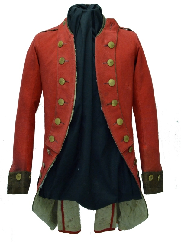 A scarlet military coat with gold buttons and light grey inner lining, owned by Daniel Servos (1743–1808).