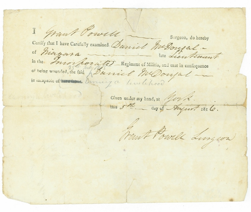 Written affidavit certifying that Daniel McDougal is incapable of earning a living as a result of his wounds, 1816.