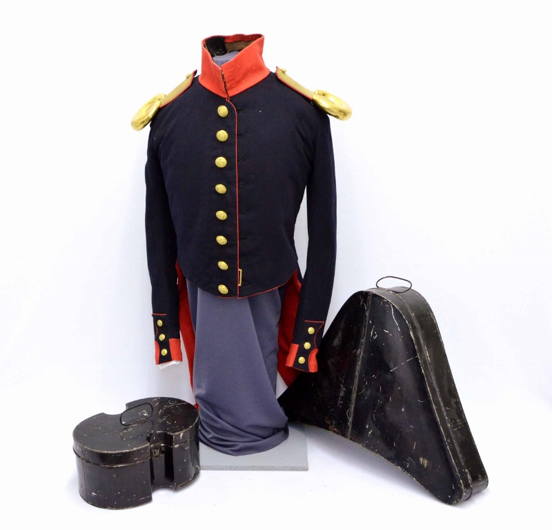 Dark navy military coat with dark bicorn hat and epaulets in their original boxes, originally worn by William Duff in the 1830s.