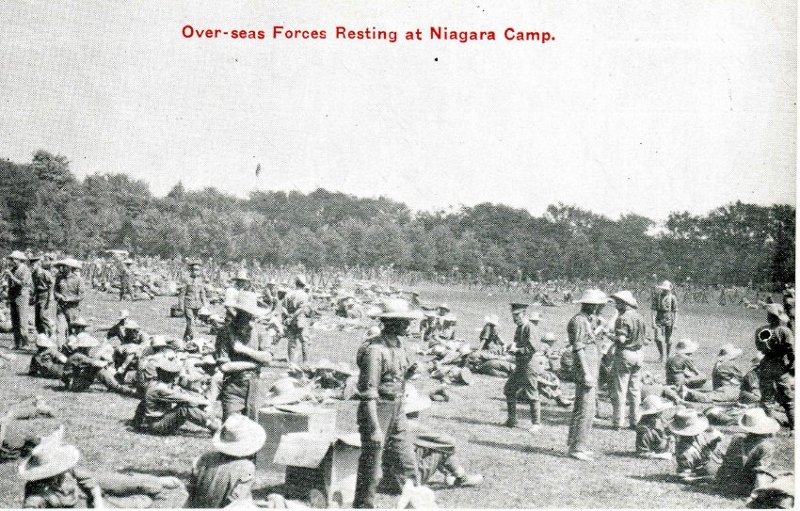 Historic postcard showing a large group of soldiers training at Camp Niagara, Niagara-on-the-Lake, Ontario.