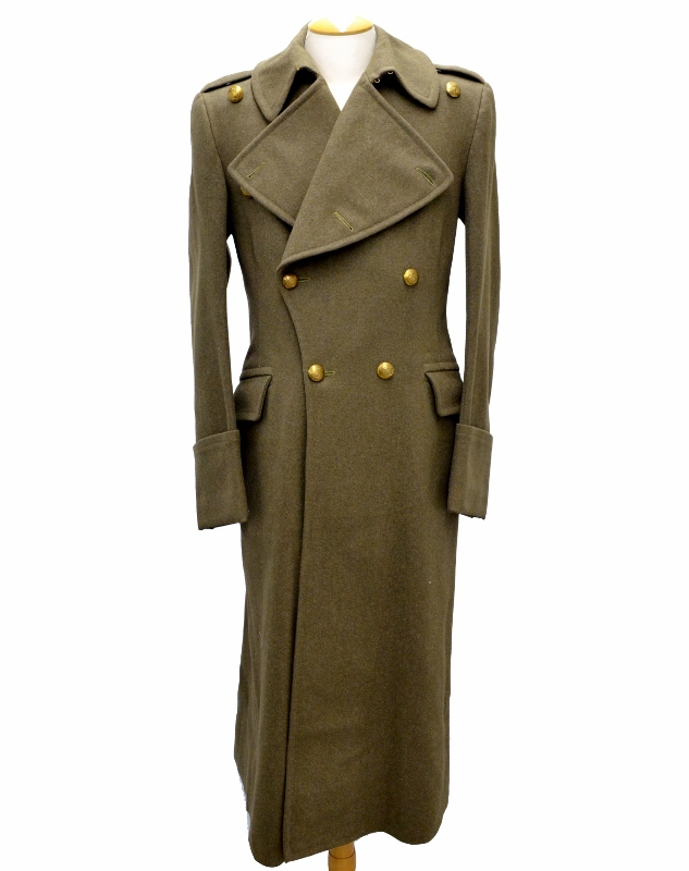 Heavy green wool WWII greatcoat with brass buttons, curiously without rank insignia, medals, or even a manufacturer tag.