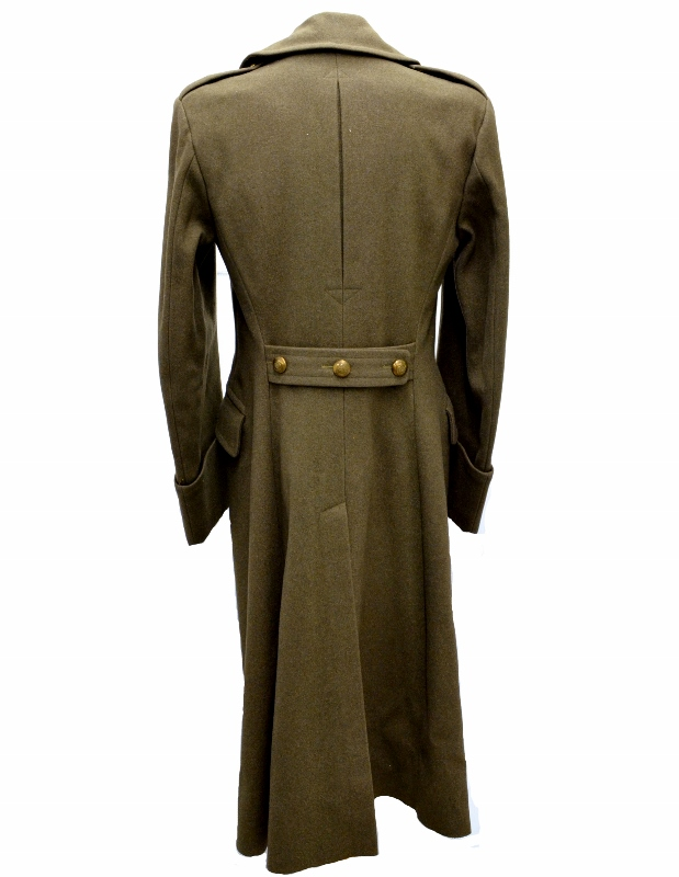 Rear view of heavy green wool WWII greatcoat with brass buttons, curiously without rank insignia, medals, or even a manufacturer tag.