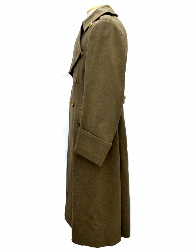 Side view of heavy green wool WWII greatcoat with brass buttons, curiously without rank insignia, medals, or even a manufacturer tag.
