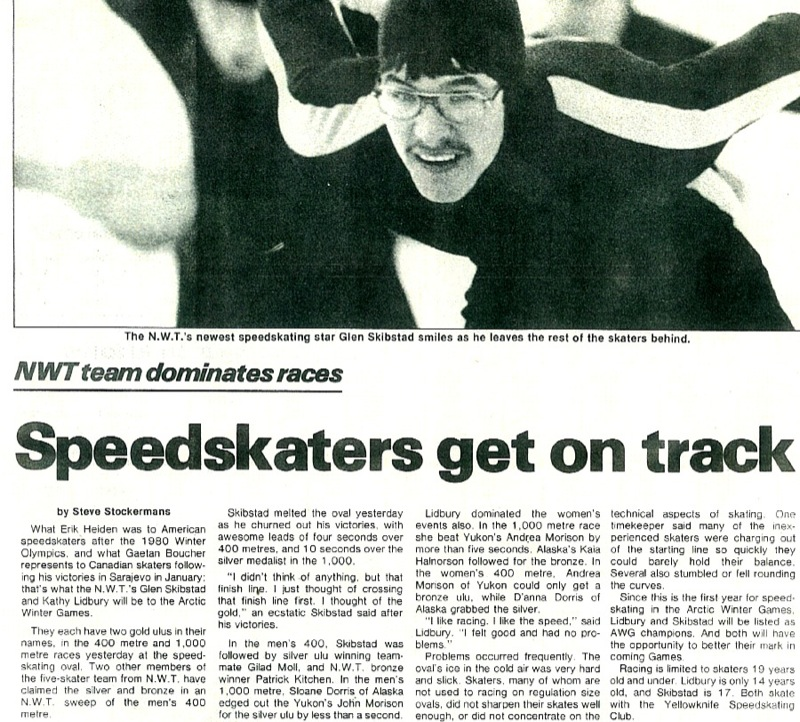 Newspaper article with photo of Glen Skibstad in gear during a race, and relaying the success of the team.