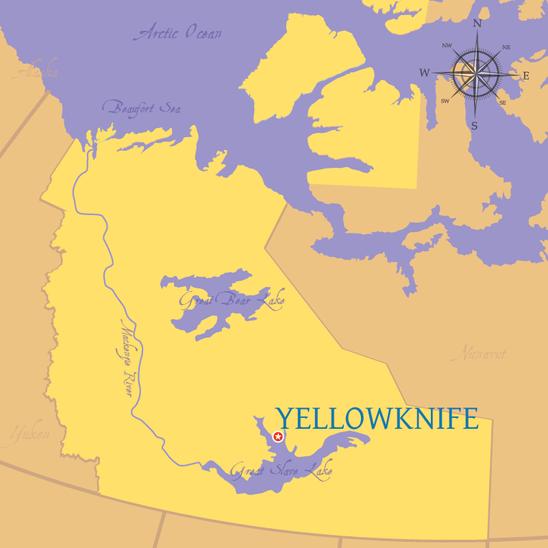 Modern map indicating the city of Yellowknife in the Northwest Territories.