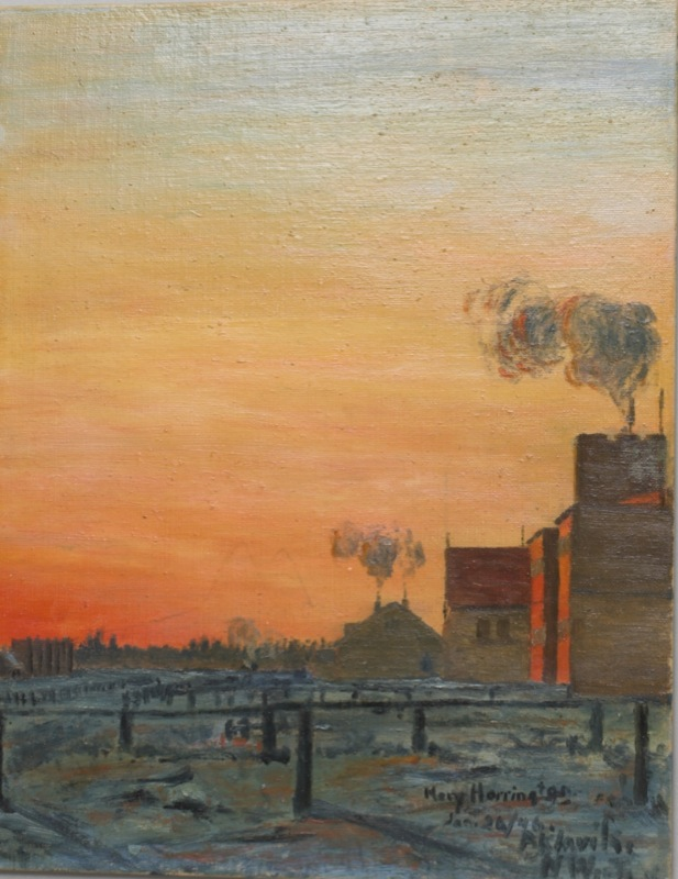 Oil painting of a sunset over a northern factory and tundra, by Mary Harrington Bryant, 1946.