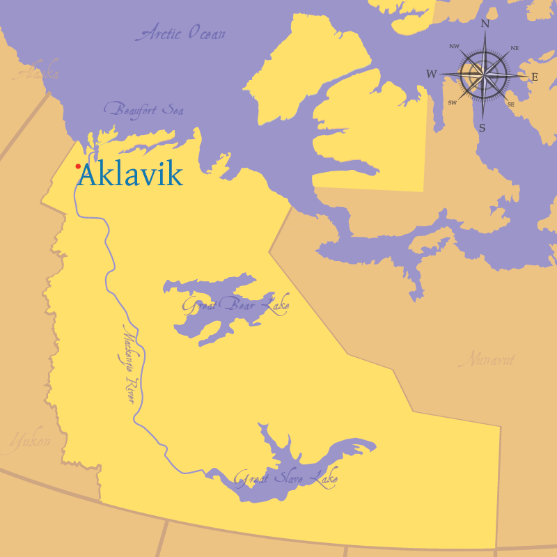 Modern map indicating the location of the settlement of Aklavik, Northwest Territories.