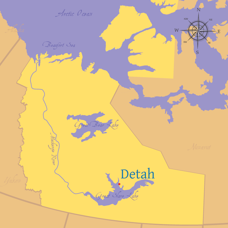 Modern map indicating the settlement of Detah in the Northwest Territories.