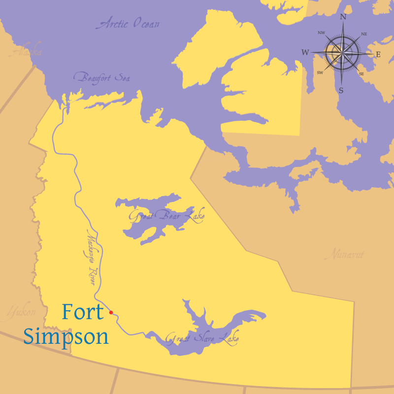 Modern map indicating the settlements of Tulita and Fort Simpson in the Northwest Territories.