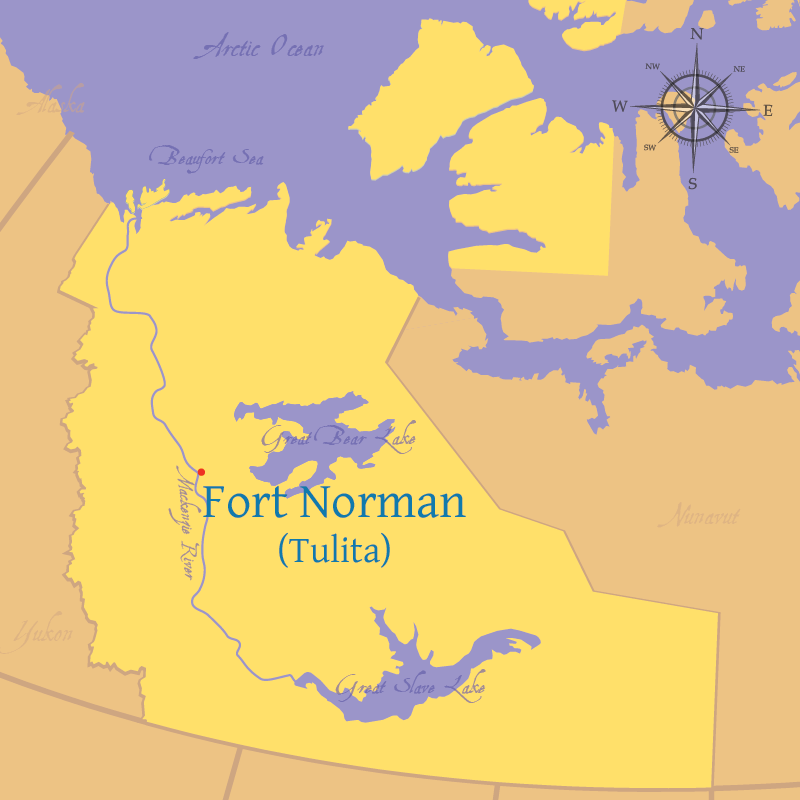 Modern map indicating the location of Fort Norman, or present day Tulita, in the Northeast Territories.