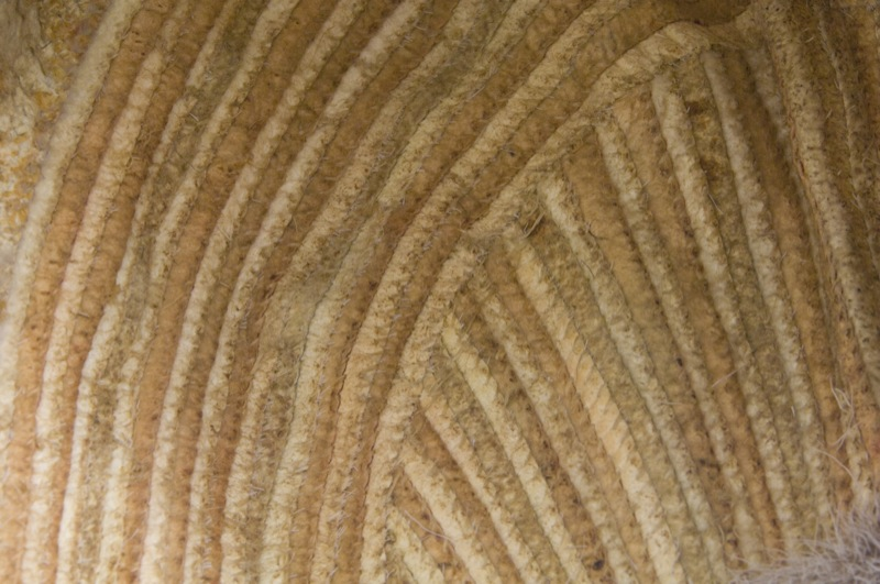 A detailed photo of the yellowed sealskin and sinew stitching inside a traditional ceremonial dance hat.