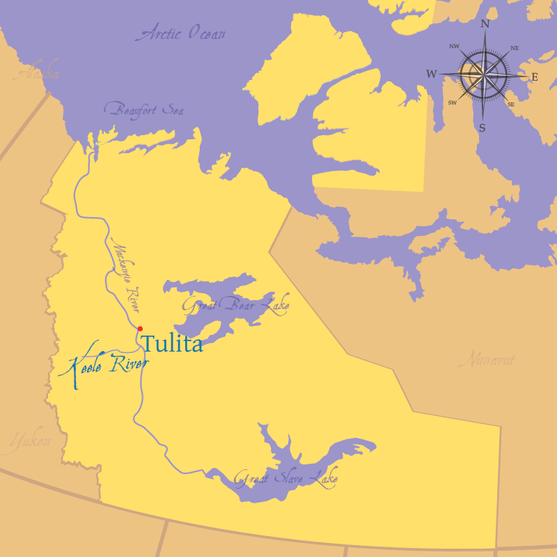 Modern map indicating the settlement of Tulita and Keele River in the Northwest Territories.