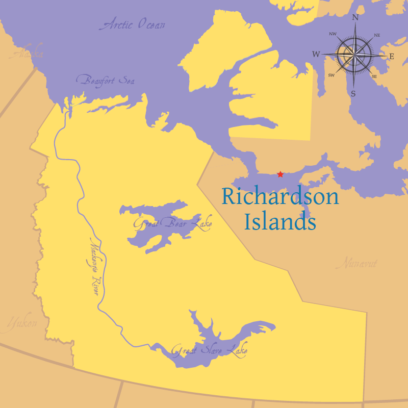Modern map indicating the location of Richardson Islands in Nunavut.