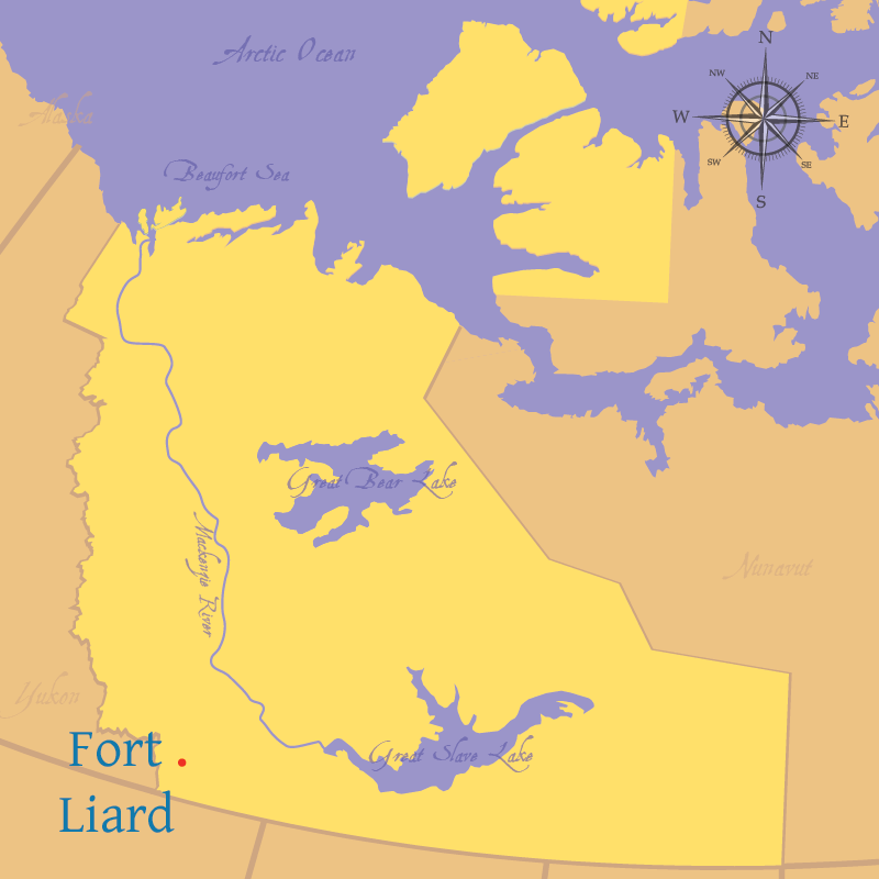 Modern map indicating the settlement of Fort Liard in the Northwest Territories.