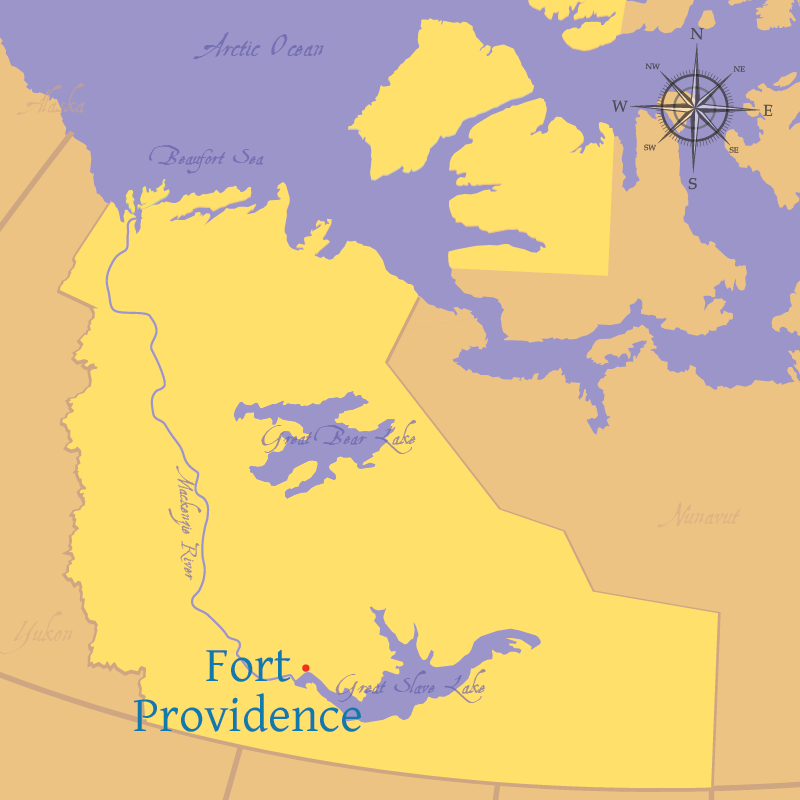 Modern map indicating the settlement of Fort Providence in the Northwest Territories.