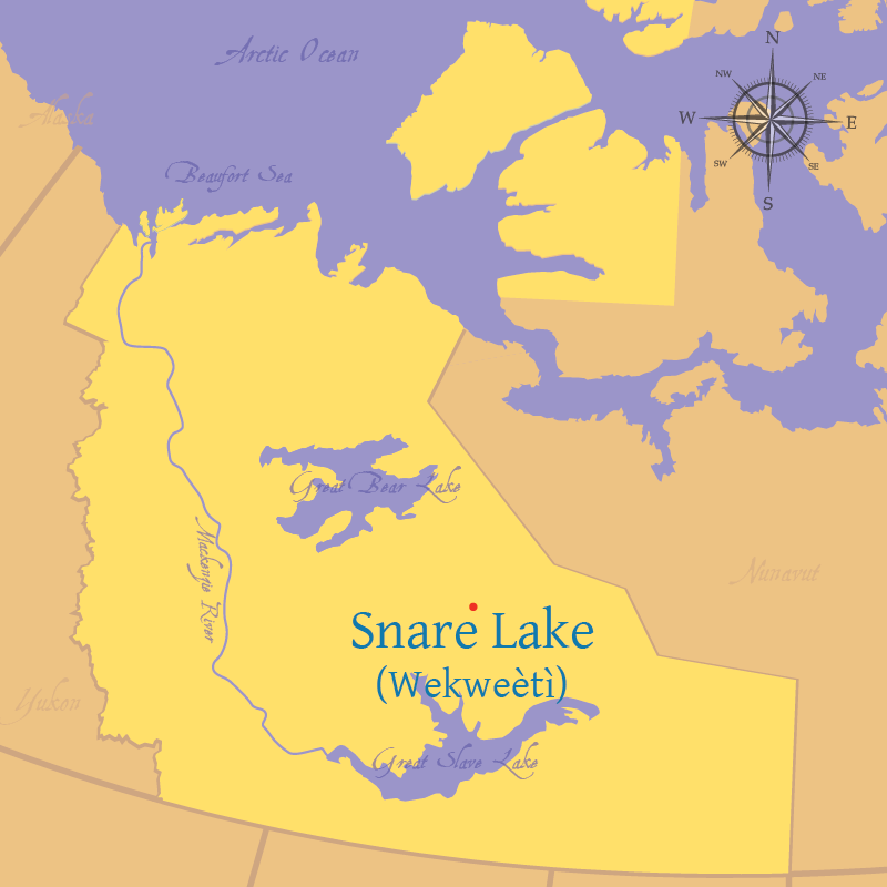 Modern map indicating the location of Snare Lake in the Northwest Territories.