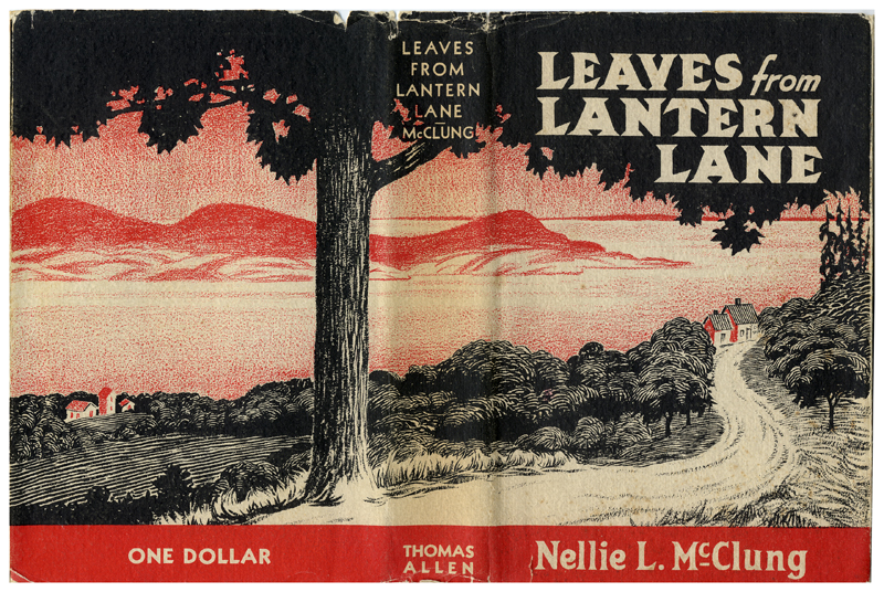 The cover of Nellie McClung's 1936 novel Leaves from Lantern Lane featuring a black and red coastal landscape.