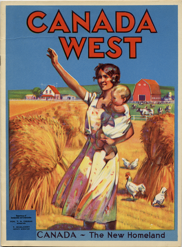 A colourful 1930s pamphlet showing a rural scene of a young mother and child, titled 'Canada West.'