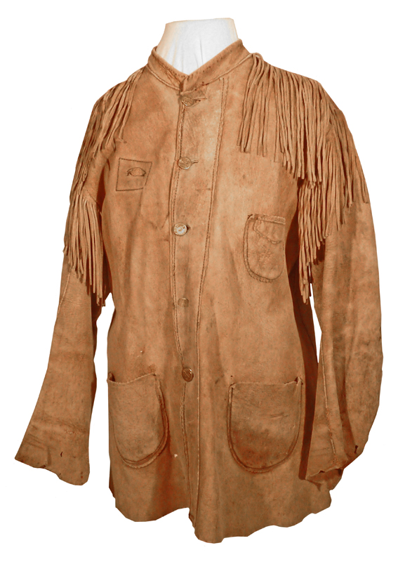 Brown deerskin jacket with metal buttons, originally owned by Klaus Epp.