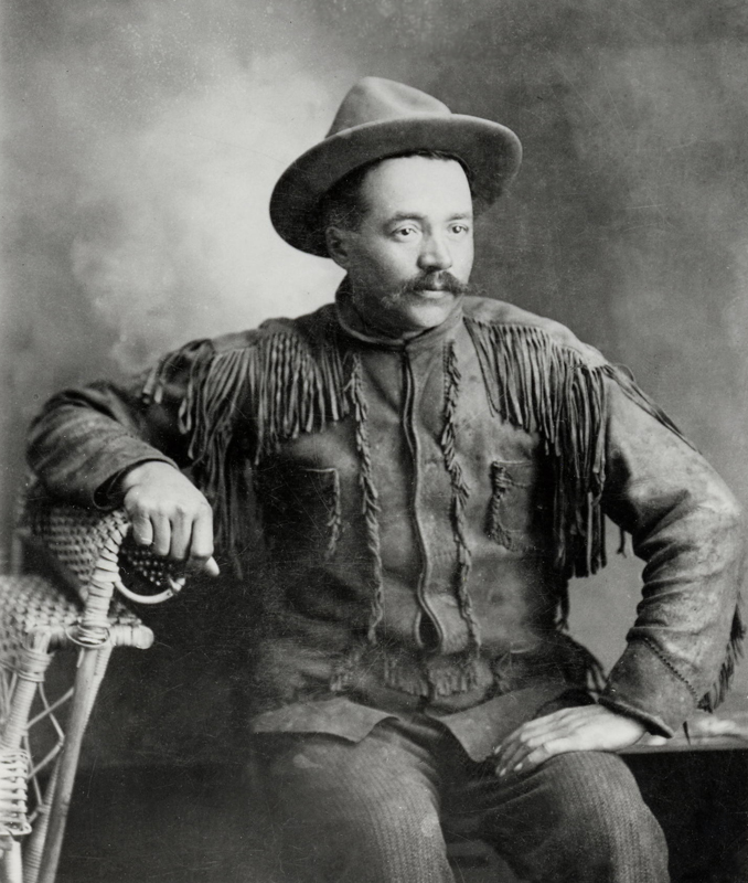 Circa 1900 photo of Klaus Epp in his buckskin suit, posing for a professional photographer.