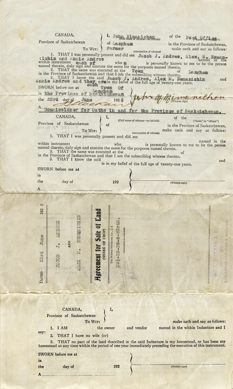 The signed deed to the land Nemanishen saved up to purchase in 1926.