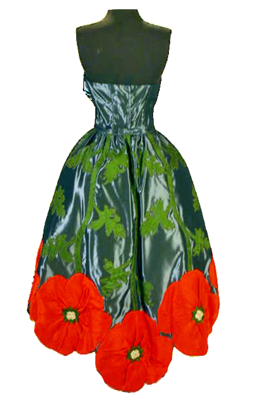 Rear view of dress featuring large poppies in red-orange silk, with olive green stems and leaves on grey taffeta.