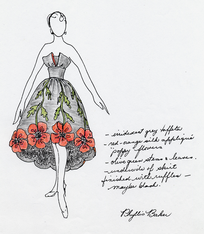 Hand drawn sketch of the poppies dress by designer Phyllis Baker, 1990.