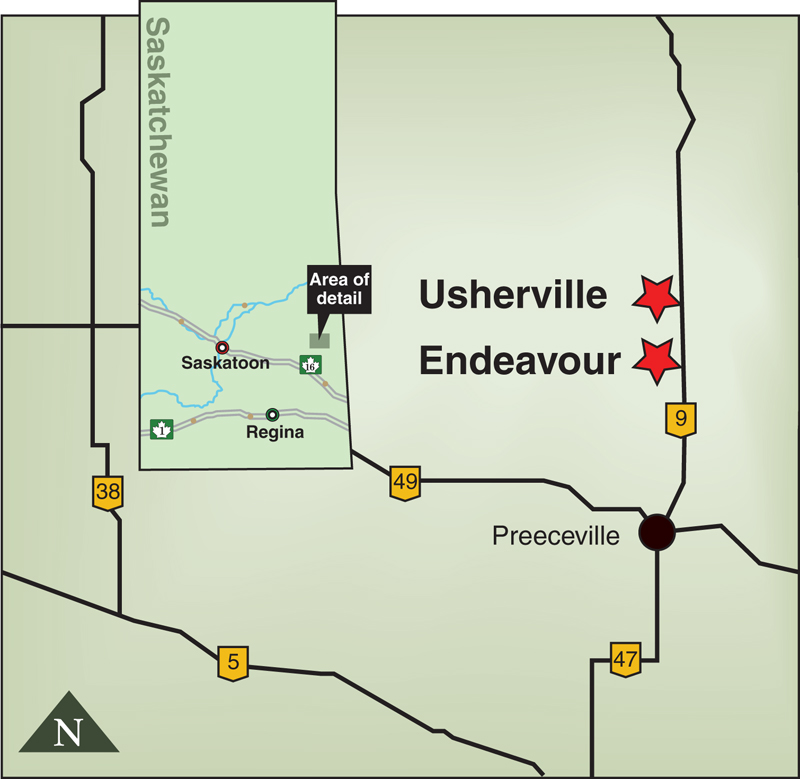 A map showing locations of Endeavour and Usherville, Saskatchewan.