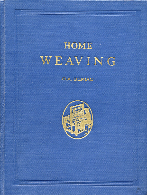 Royal blue textbook cover with the words Home Weaving in bright gold lettering.