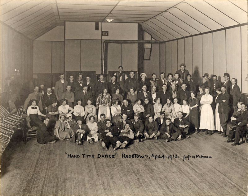 Photo of a 'hard times' costume party in rural Rosetown, Saskatchewan.