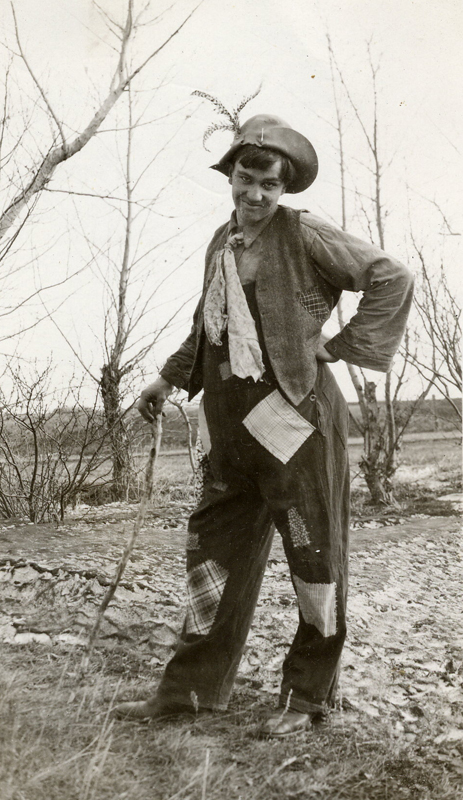 Rural resident Lance Barton, dressed in patched costume for a 'Hard Times' Dance in 1933.