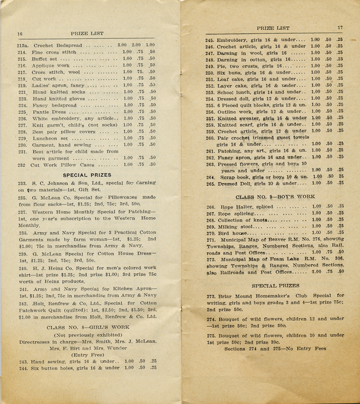 A prize list from the 1937 fair at Foam Lake, Saskatchewan.