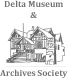 Logo of the Delta Museum and Archives Society, a stylized line drawing of the Delta Museum.