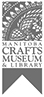 Logo of the Manitoba Crafts Museum and Library, a vertical ribbon with a stylized craft pattern at top.