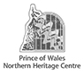 Logo of the Prince of Wales Northern Heritage Center, a stylized drawn forest landscape with name printed below.