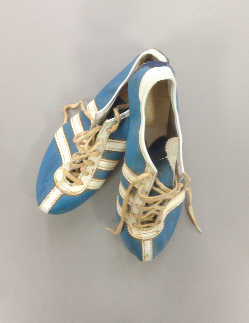 A pair of blue and white leather running sneakers.