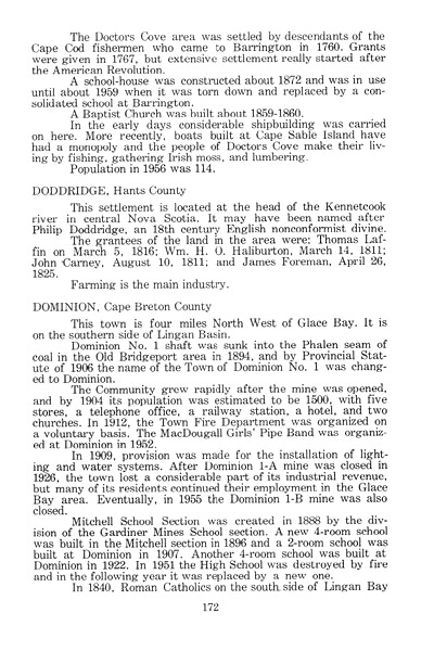 A typed book page recounting the early settlement and development of Doctor's Cove.