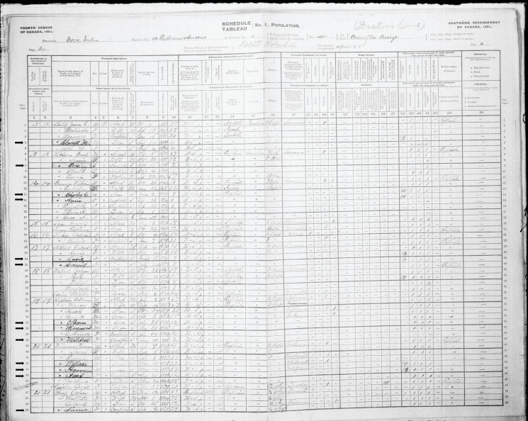 A handwritten page from the 1901 census with Doctor's Cove School students' names in bold.